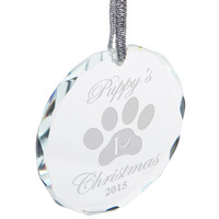 Puppy's First Christmas Etched Round Crystal Ornament
