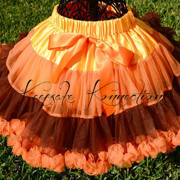 Fall Pettiskirt - Tutu - Thanksgiving Petticoat - toddler tutu- Pettiskirt - brown and orange petti skirt - Photo Prop -toddler pettiskirt