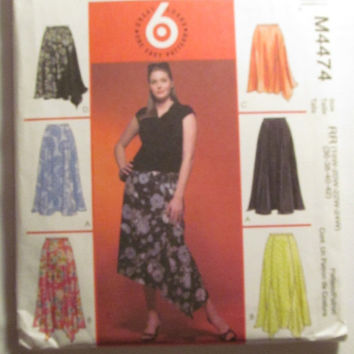 SALE Uncut McCall's Sewing Pattern, 4474! 18W-42 Plus Sizes/women's/Misses/Petite Full Flare Skirts/Size Gore Skirts/Pleated/Long/Contrast