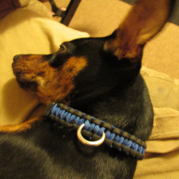 Refective Blue And Black OR Pink and Black 550 military grade paracord Dog Collar with D-ring