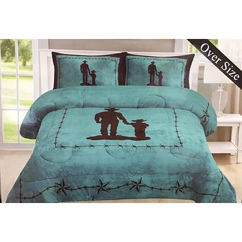 Western Cowboy & Little Cowboy Sherpa Borrego Fleece Blanket - 3 Piece Set