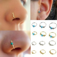 1xStainless Steel Nose Ring Nostril Hoop Nose Earring Piercing Jewelry Silver  Hand knitted Earrings #30