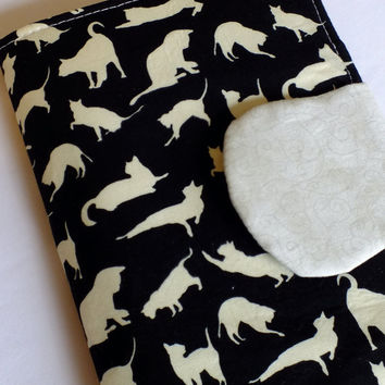 Cat Black and White eReader Cover Kindle , Nook Cover, Kobo Cover, Kindle Fire Cover, Kindle Touch Cover Made to Order