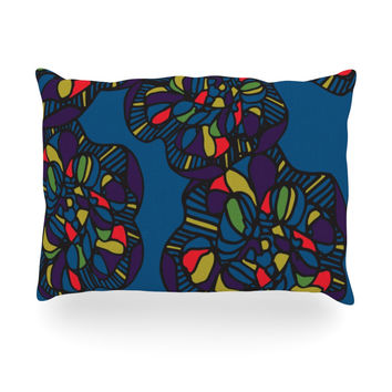 "Sonal Nathwani ""Mushroom Flower"" Navy Pattern Oblong Pillow"