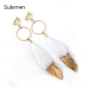 Feather Earrings For Women Geometry Metal Round Feather Clip Earrings Without Piercing Black&White Feathers Long Earring CE81
