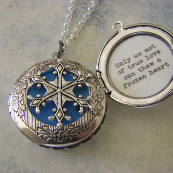 Silver Snowflake Locket frozen movie inspired Only an act of true love can thaw a frozen heart quote inside gift for her