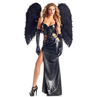 Dower Me Gothic Goddess Women Dark Angel Vampire Sexy Outfit Costume Halloween Carnival Vinyl Leather Fancy Dresses Cosplay