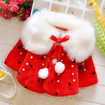 Winter Baby Girls Faux Fur Pearls Fleece Lapel Collar Infant Kids Childrens Outerwear Princess Jacket Coats Snow Wear casaco