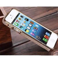 Deluxe Elegant Crystal Diamond Element Metal Bumper Case For iPhone 5 5S (gold)