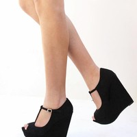 New Womens BCe2 Black T-Strap Open Peep Toe Platform Wedge High Heels sz 6 to 11