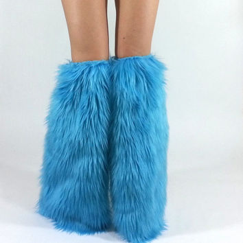 Light Blue Legwarmers *above-the-knee* FREE SHIPPING : Handmade Furry Leg Warmers, Turquoise Boot Covers Rave Fluffies