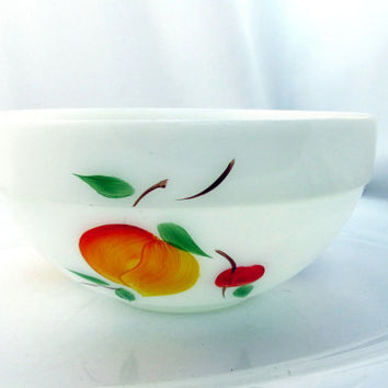 Fruit Bowl Anchor Hocking Fire King Ware Made in the USA  Hand Painted Fruit Decor Vintage Collectible Gift Item 2242