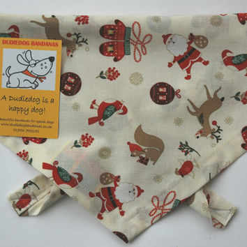 Christmas Dog bandana, Neckerchief. Cute Santa, Squirrel, Reindeer. Beautifully handmade in the Yorkshire Dales. Free UK P&P.  7 sizes!