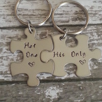 His and Her Puzzle Piece Keychain Set - Couples,Wedding, Anniversary Keychain