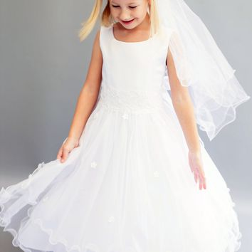 Girls Lace Trim Communion Dress w. Tiered Lettuce Trim Tulle Skirt 6-16