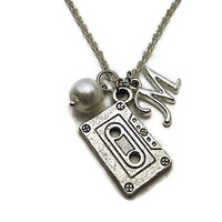 Cassette Tape Necklace Glass Pearl Initial Birthstone Mixed Tape Necklace Music Necklace Cassette Necklace Mixed Tape Jewelry Music Jewelry