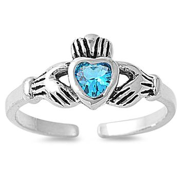 Sterling Silver Claddagh Benediction Heart 7MM  Toe Ring/ Knuckle/ Mid-Finger CZ Blue Topaz CZ