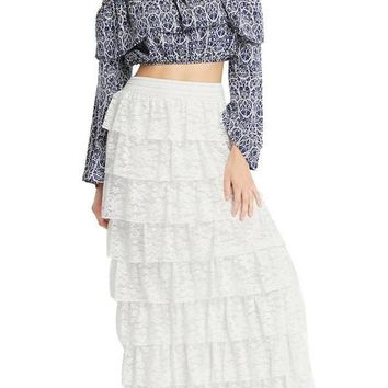 White Boho Tier Ruffle Maxi Skirt