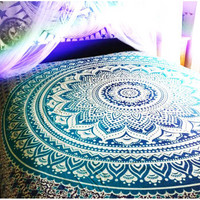 Ombre Large Mandala Indian Blue Tapestry Hippie Wall Hanging Dorm Deco – TheNanoDesigns