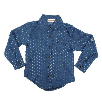 Baby Girl Kid Denim Shirt Long Sleeve Polka Dots Blue Cowboy Lapel Blouse 2-7Y NW