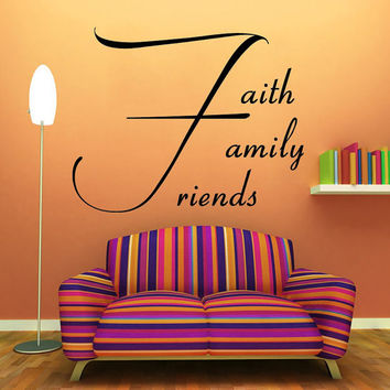 Wall Decals Vinyl Decal Sticker Quote Faith Family Friends Lettering Home Interior Design Art Murals Bedroom Living Room Decor KT156