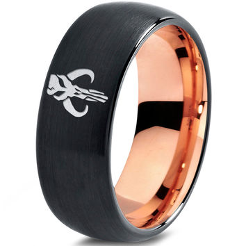 Star Wars Mythosaur Inspired 18k Rose Gold Black Dome Tungsten Ring