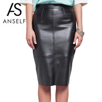 Anself Winter High Waist PU Faux Leather Women Skirt Black Vintage Bodycon Midi Skirt Sexy Clubwear Pencil Skirts Womens Saia