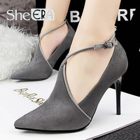 She Era  Europe Sexy Stiletto High Heels Women Shoes Hollow Deep Mouth Pumps Dames Schoenen Suede Shoes Woman Scarpe Donna