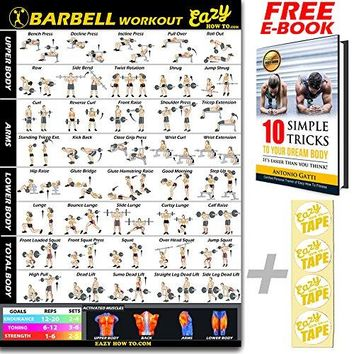 Barbell Weight Lifting Bar Exercise Workout BIG Banner Poster Home Gym Chart
