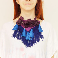 FLORA / Floral fringe & leather statement necklace - Ready to Ship