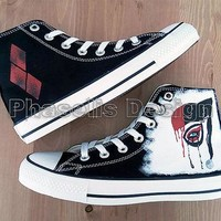Harley Quinn Custom Shoes Painted Shoes