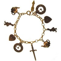 100% Nickel Free Alice in Wonderland Charm Bracelet, Made in USA! Ours Alone!, in Antique Gold Tone