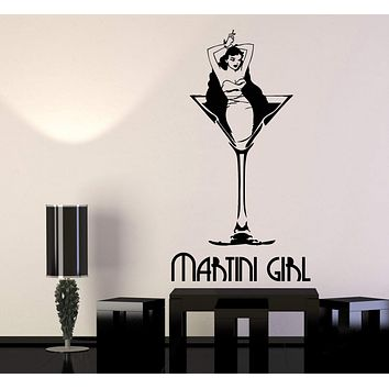 Vinyl Wall Decal Martini Girl Cocktail Stripper Retro Pin Up Style Stickers (2934ig)