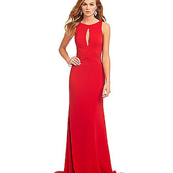 Glamour by Terani Couture Beaded Draped Back Gown | Dillards.com