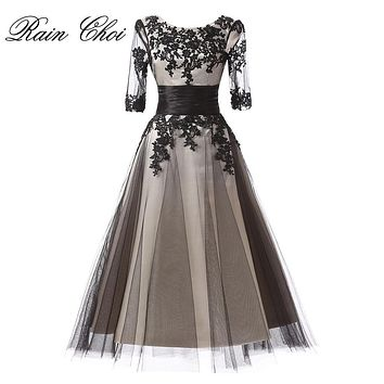 Sexy Tea Length Long Evening Dress Elegant Formal Party Gown 2017