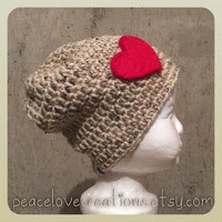 Child Beanie with Red Felt Heart~Ready to ship~FREE SHIPPING
