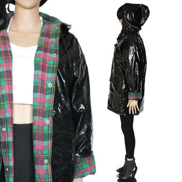 PVC Raincoat 90s Shiny Black and Plaid Flannel Hooded Slicker Hipster Club Kid Clothing Womens Size Medium