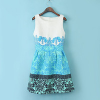 Blue Vintage Paper Cut Print Sleeveless Sheath A-Line Mini Dress