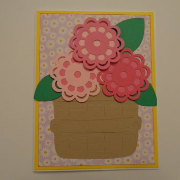 Handmade Mother's Day Card, Mom's Day Card, Happy Mother's Day Card- Basket of Flowers