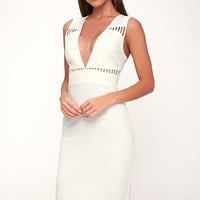 Lara White Sleeveless Cutout Midi Dress