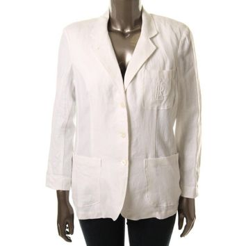 Ralph Lauren Womens Linen Notch Collar Three-Button Blazer