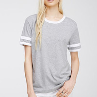 Varsity-Striped Heathered Tee