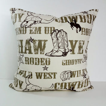 Cowboy Decorative Pillow Cover, Brown Country Western Throw Pillow Cushion, 18 x 18