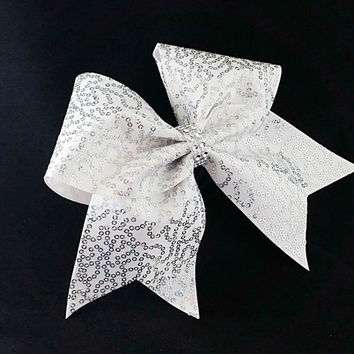 Cheer bow, White cheer bow, Sliver sequin cheer bow, Cheerleader bow, cheerbow, softball bow, pop warner cheer bow, dance bow,