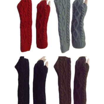 Thick Toasty Warm Shiny Accented Knit Arm Warmers, Gloves, Women's Accessories