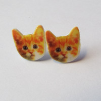 Orange Kitten Stud Earrings