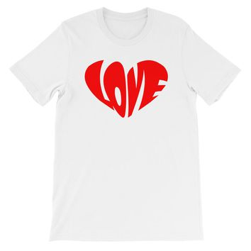 Love in Heart Shape Short-Sleeve T-Shirt For Him or Her in Many Colors!