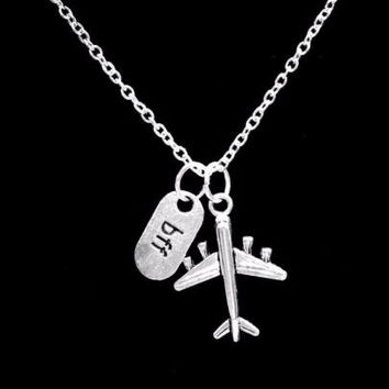 Airplane Bff Best Friends Friend Travel Long Distance Nautical Gift Necklace