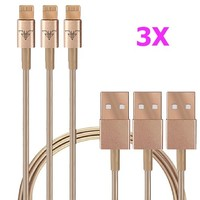 CellBee® 3Pcs Pack USB Sync Data / Charging Champaign / Gold 3 Ft Cable for iPhone 5 / 5C / 5S (Latest IOS Supported) iPad Mini iPod Touch 5th Air Gen (3X GOLD)