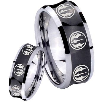 His and Hers Multi Jedi Star Wars Concave Black Tungsten Mens Ring Engraved Set